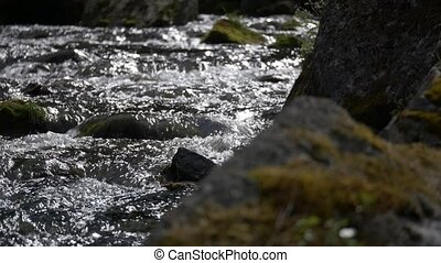 Stream course, rippling water. native camera output, no...