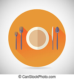 Restaurant Cuisine Meals Symbol Plate Spoon Fork Knife Icon with long shadow on Stylish Background Modern Flat Design Vector Illustration