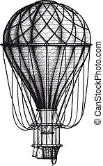 Old Air Ballon - vintage Air Balloon drawn as engraving...