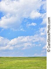 green hill with blue sky - green hill with blue cloudy sky...
