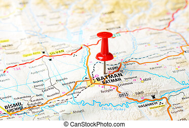 Batman ,Turkey map - Close up of Batman ,Turkey map with red...