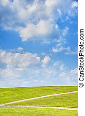 green hill with blue sky - green hill with blue cloudy sky...