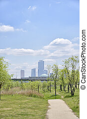 Hangang Park and buildings at Yeouido in Seoul, Korea