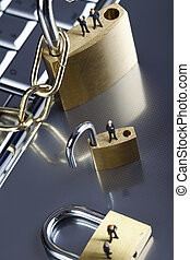 Business man on secure pedlock