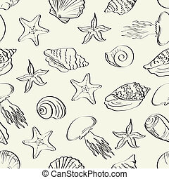 Seamless pattern, marine animals contours - Seamless...