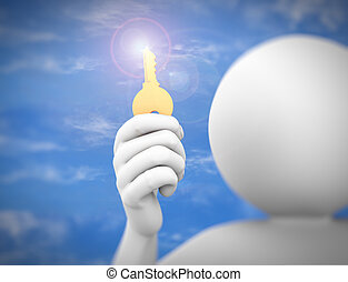 3d man holding key to success illustration