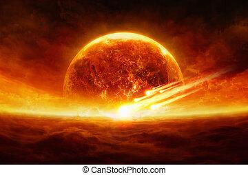 Exploding planet - Dramatic apocalyptic background - burning...