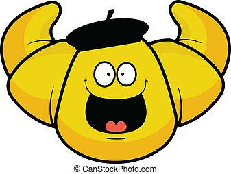Cartoon Croissant Happy - Cartoon illustration of a happy...