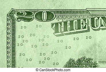 Twenty Dollar Bill - A close up on a twenty dollar bill....