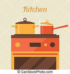 Card with kitchen oven and cooking utensils in retro style.