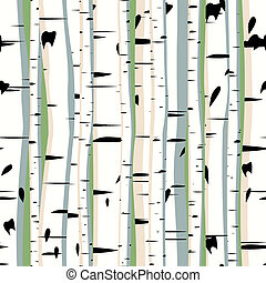 Seamless artistic forest birches.
