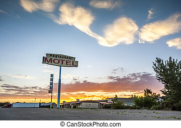 Big Restaurant Motel Sign, USA - Big Restaurant Motel Sign...