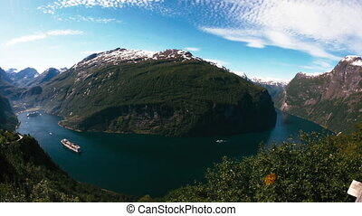 Cruise Liners On Fjord, Norway