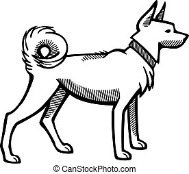 Spitz Dog - line vector art of a spitz type dog
