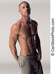Man with chiseled chest and abs