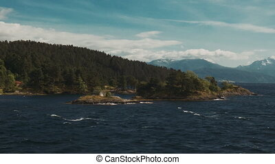 Trip With Boat Along Coastline, Fjord, Norway