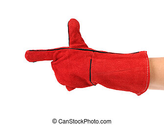 Heavy-duty red glove on hand as gun Isolated on a white...