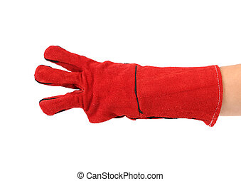 Three fingers in heavy-duty red glove Isolated on a white...