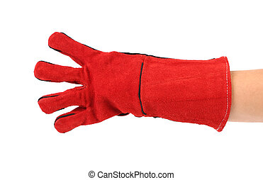 Four fingers in heavy-duty red glove Isolated on a white...