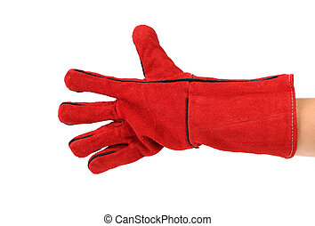 Five fingers in heavy-duty red glove Isolated on a white...