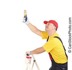 Worker on ladder with brush Isolated on a white background