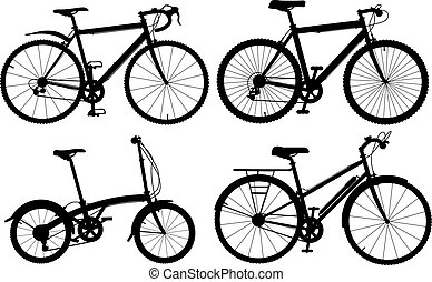 Bicycles - Set of detailed editable vector generic bicycle...