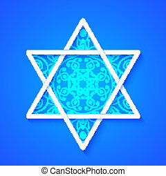 Star of David with Decorative Pattern on Blue Background....
