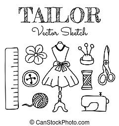 Hand-drawn Tailor Elements Isolated on White Background...