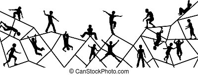 Playtime - Editable vector foreground silhouette of kids...