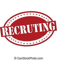 Recruiting - Stamp with word recruiting inside, vector...