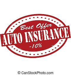 Auto insurance - Stamp with text auto insurance inside,...