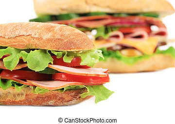 French baguette fresh sandwich. Isolated on a white...