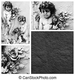 condolência, cartão, pequeno, anjos, flores
