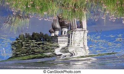 Reflection in water of the Church inverted image
