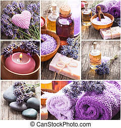 Lavender spa - essential oil, seasalt, violet towels and...
