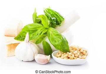 Pesto sauce ingredients: fresh green basil, parmesan, pine...