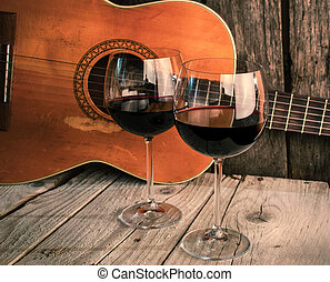 de madera, guitarra,  R, vino, tabla