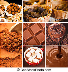 Chocolate collage from seven photos. Different choco