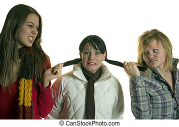 Mean Girls pull hair - Two catty girls pull hair and bully...
