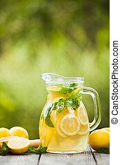 Lemonade in the jug - Preparation of the lemonade drink....