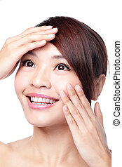 Skin Care woman with beauty face and skin