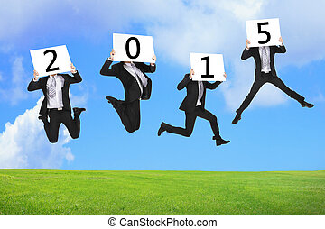 2015 new year business concept, Business man happy holding...
