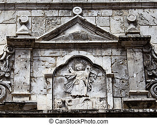 Basilica del Santo Nino. Cebu, Philippines. - Wall in the...
