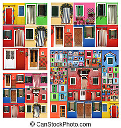 colorful abstract facade constructed of images of Burano,...
