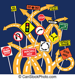 Lost and confused - Tangled road with confusing signs,...