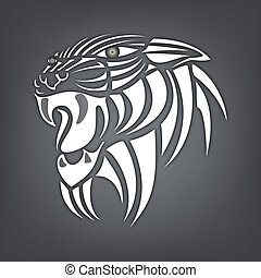 White silhouette of tiger on a black background