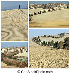 collage with arid landscape in Tuscany called Crete Senesi...
