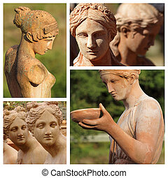 toscano, terracota, hembra, Estatuas, Impruneta, Toscana,...