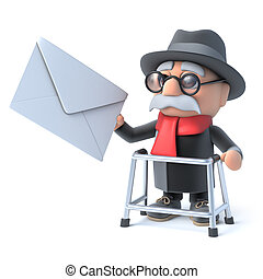 3d Grandpa with walking frame gets mail - 3d render of an...