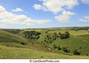 Exmoor farm Fields - Rugged steep hills and valley on the...